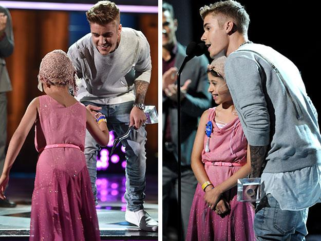 """Bieber was granted the Champion of Charity Award for his work with the Make-A-Wish Foundation - having granted 200 wishes so far. When he accepted it, he called Grace up on stage with him, saying """"This is Grace's award."""""""