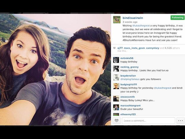 Bindi Instagrammed this cute birthday snap for Luke's birthday a few weeks ago.