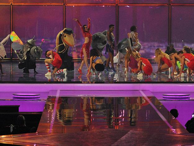 Dancers on stage during Jess's performance onstage at Eurovision.
