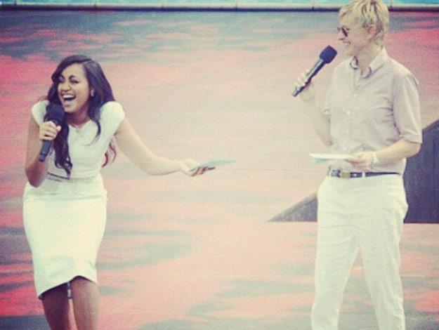 Jess onstage with Ellen Degeneres when she brought her television show down under.