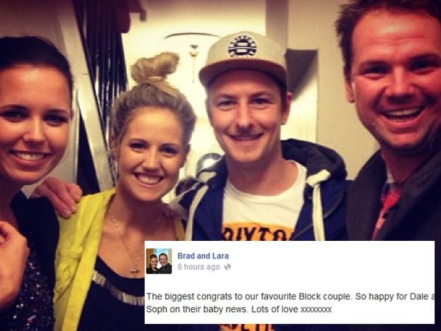 Dale's The Block Fans vs Faves team mate, Brad Cranfield congratulated the pair via Facebook.