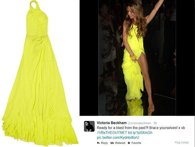 Victoria posted this flashback snap to her Twitter page to mark the launch of theOutnet's campaign. It features her in a neon yellow Roberto Cavalli dress that she wore to a pre-World Cup party for David in 2006. The dress will also be up for auction.