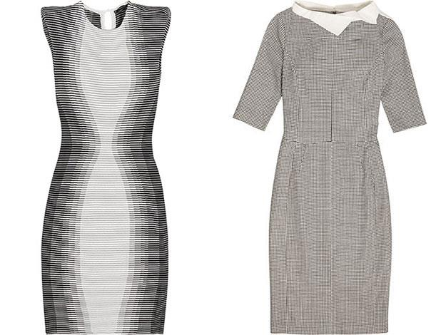 On the left an Alexander McQueen and on the right an Antonio Berardi dress which will both be in the auction and which Victoria has previously been snapped wearing.