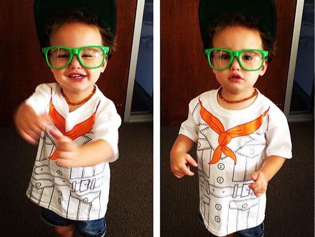 Jules posted this cute pic to Instagram of Hudson playing dress-up.