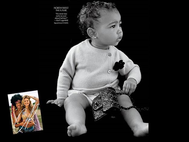 "North West has appeared in her first solo fashion shoot for fashion magazine *CR Fashion Book*, draped in a mini Chanel handbag and accompanied by a quote from the designer Karl Lagerfeld that reads: ""It's never too early for fashion""."