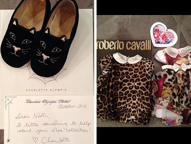 More of North's designer gifts: including custom-made Charlotte Olympia shoes and Roberto Cavalli's signature leopard print in baby-form.