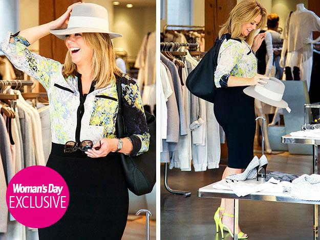 You can leave your hat on! Samanthat Armytage was spotted trying on hats while shopping in Sydney.