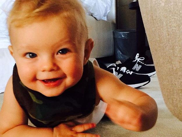 Proud Dad Josh shared this cute snap of a crawling Axl on Father's day.
