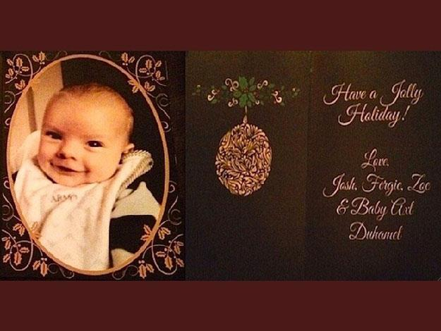 Clearly the apple of his parents eyes, little Axl in his bib featured as the centrepiece of their family Christmas card last year.