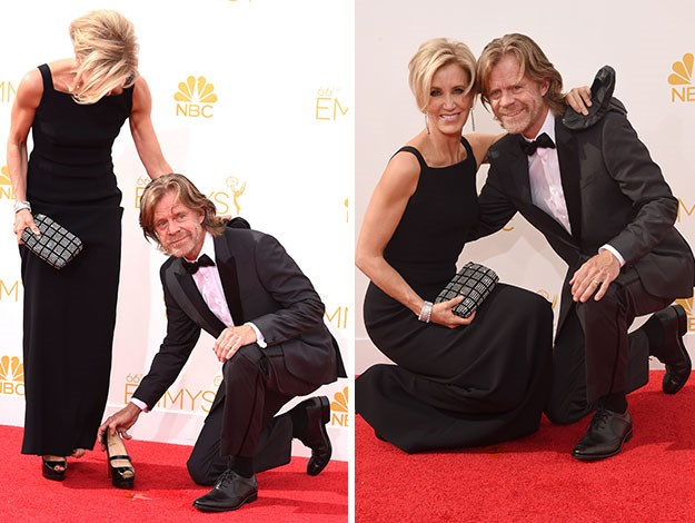 Felicity Huffman went for a tumble off her super-high heels but her chivalrous hubby William H Macy just got right on the ground with her, making for a cute couple photo – what a gentleman!