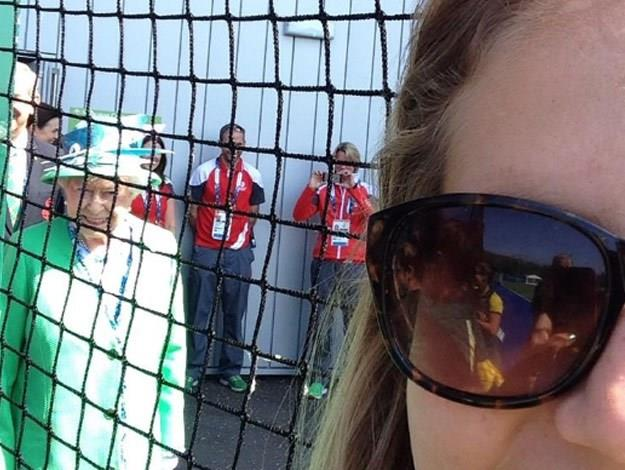 With a smile from ear to ear, she later reappeared in the background of another candid selfie belonging to Hockeyroo's star, Ashleigh Nelson.