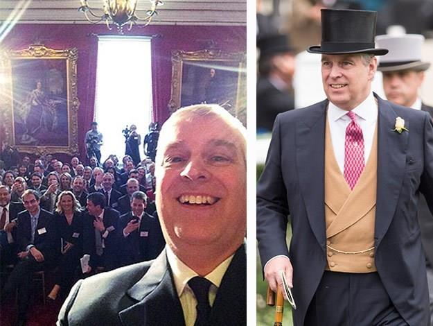 The Duke of York, Prince Andrew [snapped what was believed to be the first selfie taken inside Buckingham Palace, which is usually a tech-free zone, posting it to his Twitter account.](http://www.womansday.com.au/celebrity/photo-galleries/2014/4/say-cheese!-prince-andrews-royal-selfie!/)