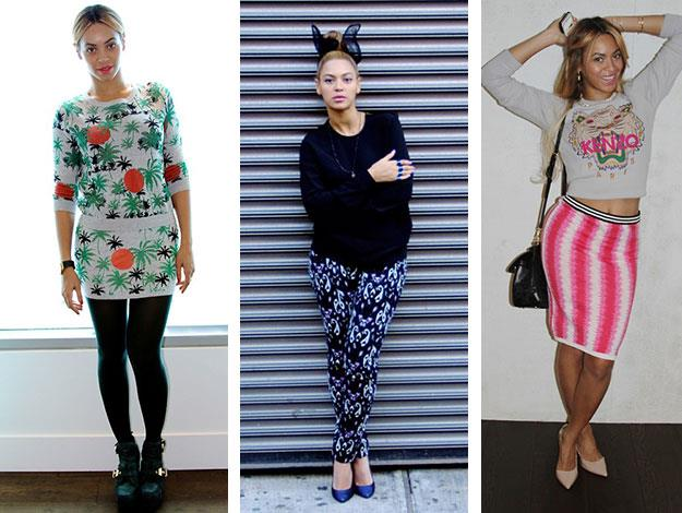 Some of the many colourful outfit posts from Beyonce's Instagram and Tumblr.