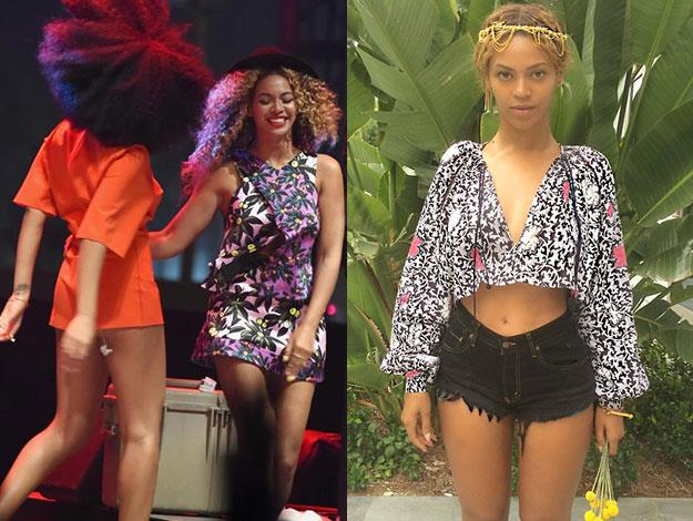 Whether she's rocking out on stage with her sister Solange or chilling on vacation, Beyonce sure knows how to work a bright print.