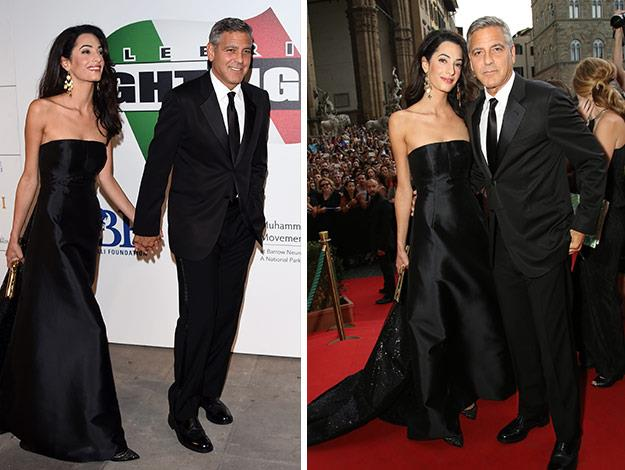 George and Amal wear classic all black on the red carpet in Italy.