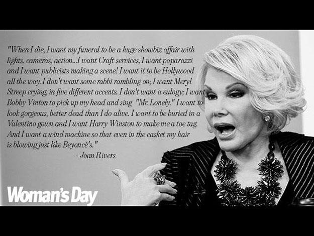 Joan famously said that she wanted her funeral to be a grandiose affair.