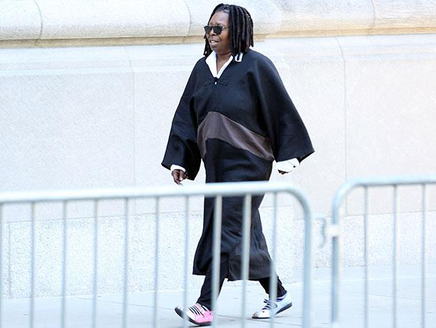 Close friend and fellow funny-woman Whoopi Goldberg arrives at the funeral.