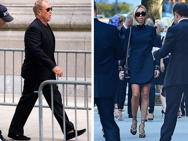 Fashion designer Michael Kors and Joan's *Fashion Police* co-host Giuliana Rancic arrive at the funeral dressed in black and sporting dark sunglasses.