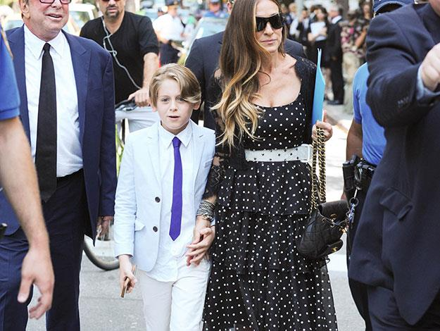 Sarah Jessica Parker and her son, James Wilkie Broderick, arrive at the funeral. Her husband Matthew Broderick was also in attendance.