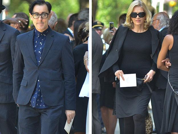 English actor and Broadway theatre star Alan Cumming and legendary news reporter Diane Sawyer were both seen looking demure as they attended the funeral.