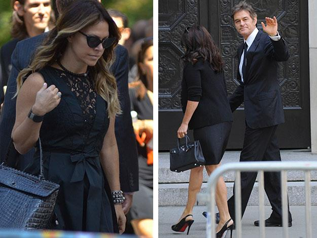 Celebrity trainer Jillian Michaels and Dr. Oz arrive at the funeral.