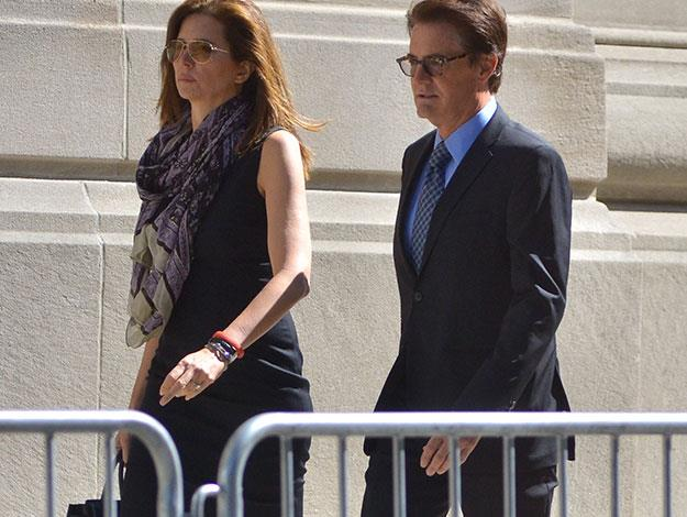 Actor Kyle MacLachlan and his wife Desiree Gruber arrive at the funeral.