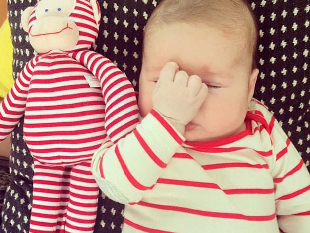 "Zoe's sense of humours makes for the best baby snaps. She posted this one last month, captioned: ""I can't BELIEVE we wore the same thing again."""