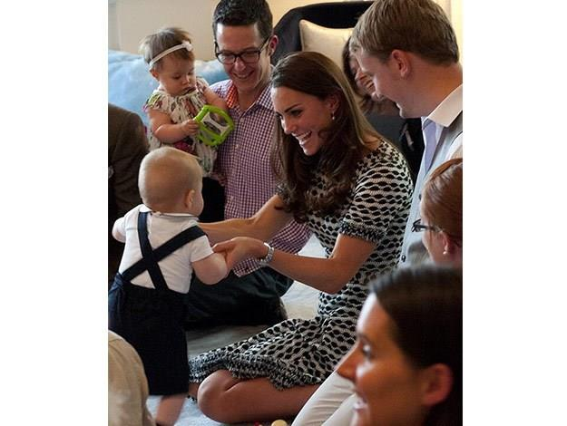Duchess Catherine plays with Prince George while on tour in New Zealand.
