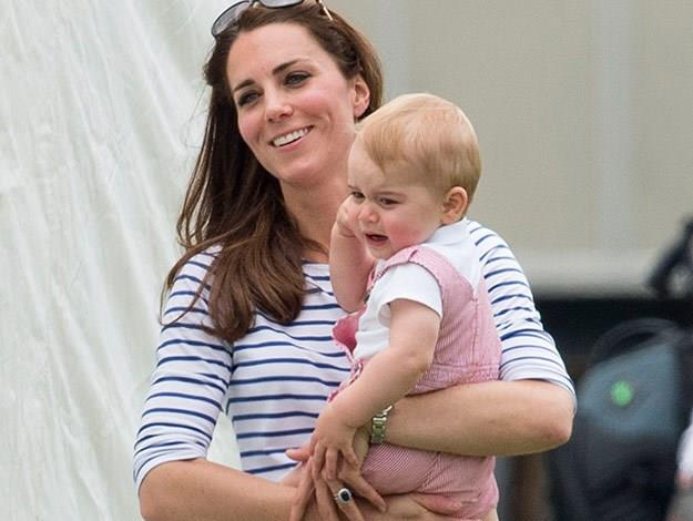 Prince George became cranky when he couldn't walk and was swooped up by his mum Kate.
