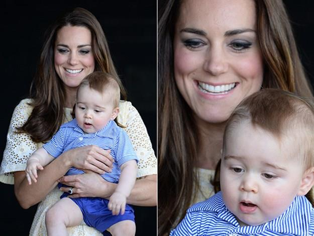 Kate holds onto the young prince for one of his few public appearances on their Australian Royal tour.