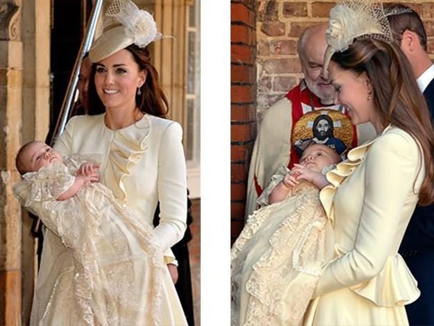 An elegant Catherine carries her little bundle of joy on the day of his christening.