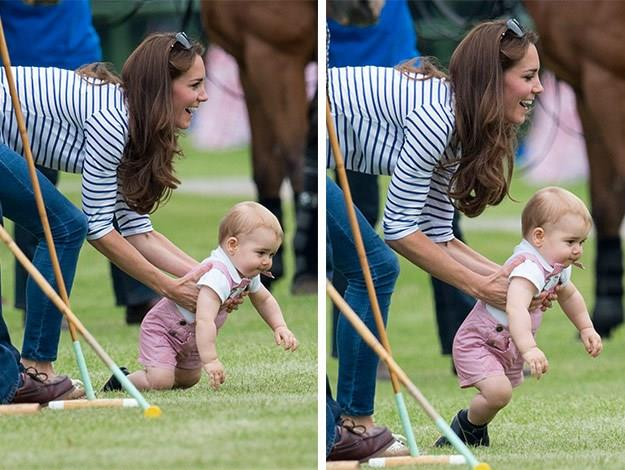 Duchess Catherine gave her son a helping hand as her determined little one practised walking along the sidelines of his father's charity polo match.