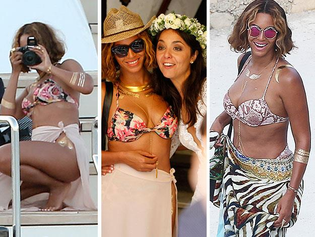 Beyonce is clearly a huge fan of the metallic temporary tattoos known as Flash Tats. On her recent holiday in Portofino Italy she was spotted wearing them on her arm like bangles, on her neck like faux-necklaces and even on her thigh.