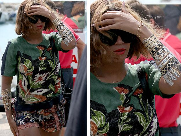 Beyonce was covered in the temporary tats when she was seen leaving her summer European holiday - the great thing about the metallic style is that they make a great summer alternative to traditional jewellery as they're a lot lighter and less expensive.