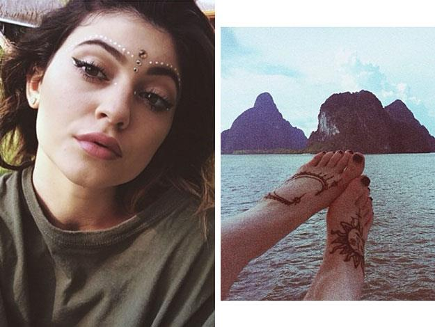 Kendall's sister Kylie Jenner posted a couple of selfies featuring temporary tats on her face and her feet while holidaying in Thailand with her family earlier this year.
