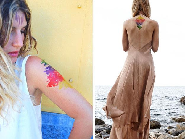 """Another kind of alternative temporary tattoos are these artistic watercolour ones known as """"beauty marks"""" from [Mr Kate's. Shop the look here.](http://shop.mrkate.com/products/beautymarks-the-new-makeup-watercolor)"""