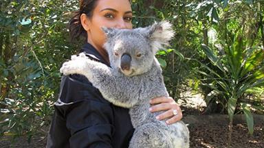 Kim Kardashian cuddles a Koala, snaps a selfie