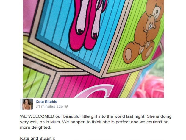 Kate and Stuart announced the birth of their first child, a beautiful baby girl, via this cute Facebook post last month.