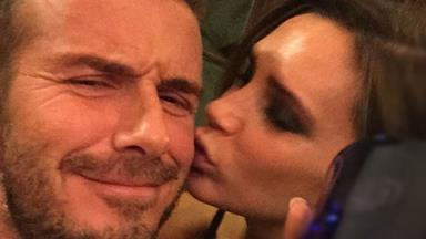 Victoria smooches David Beckham as he launches his own whisky line