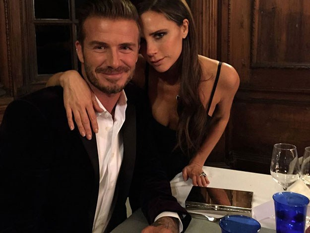 Victoria Beckham posted this super cute snap of her and David together at the dinner to launch his new liquor line - Haig Club whisky.