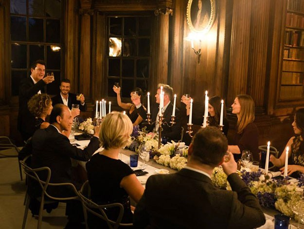 Diners at the special launch dinner in Scotland raise a glass to toast the launch of the new line.