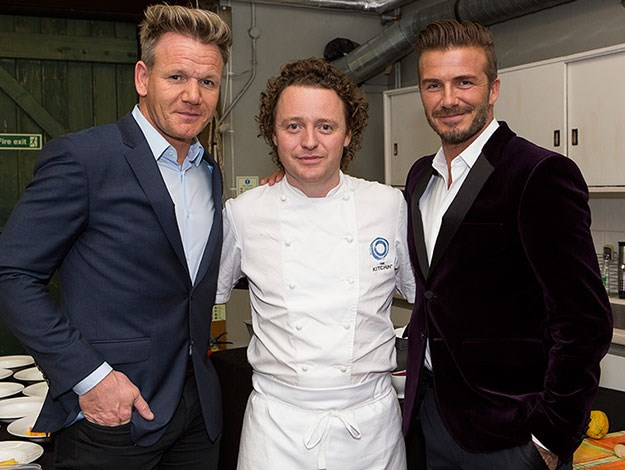 "David posted a thank-you to the Michelin-star chef who cooked his launch dinner as well as his celeb-chef pal Gordon: ""Thank you to Tom Kitchin and my great friend Gordon Ramsay for preparing such an amazing meal for my Haig Club dinner."""