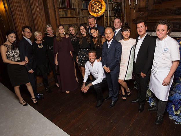 Friends of the Beckhams, including manager Simon Fuller and the celebrity chefs all gathered to toast the launch of David's new line.