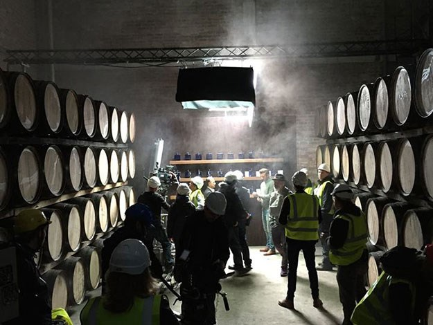 "David posted this behind-the-scenes image on the weekend, captioned: ""Here's a look behind the scenes at Haig Club's cooperage in Scotland where we are filming today. I can't wait to show you the final results."""