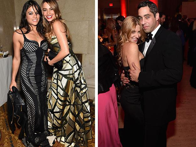 Inside the ball Sofia posed with actress Michelle Rodriguez, Nick meanwhile showed off an attractive blonde on his arm.