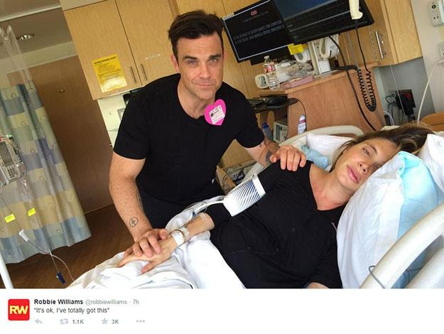 Robbie Williams seems to have spent the whole birth cracking jokes while poor Ayda suffered through the pain!