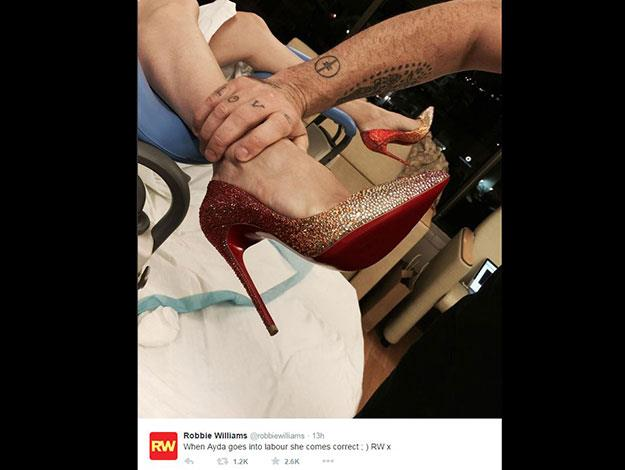 Things started off very civilised as Robbie revealed that Ayda had checked into hospital - wearing a glamorous pair of heels.