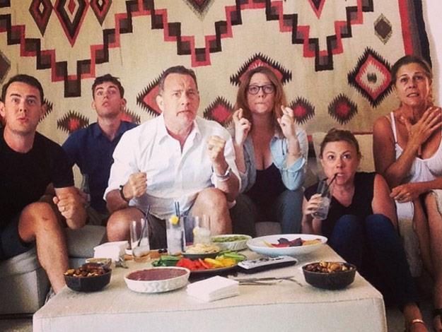 He's a family man! Tom Hanks and his family were among the celebrities who got right into the World Cup spirit.