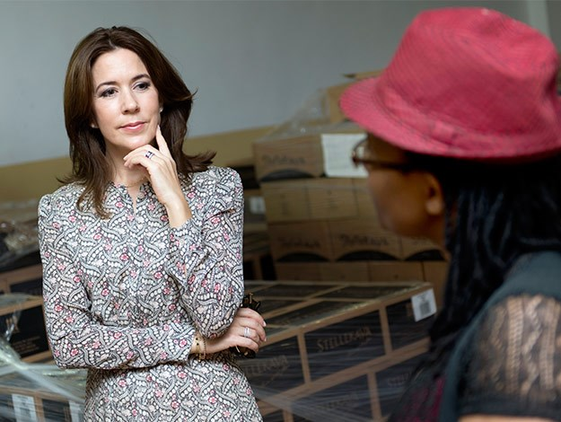 Princess Mary chats with South African wine maker and female entrepreneur, Ntsiki Biyela.