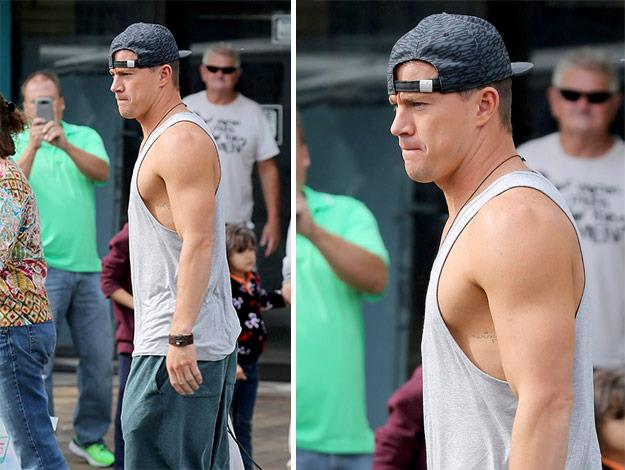 Channing Tatum shows off his bulging biceps while filming Magic Mike in South California.